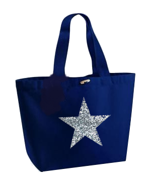 Silver Glitter Star Design. Marina Bag