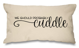 We should cuddle. Natural Long Cushion