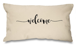 Welcome (swirl) Natural Long Cushion