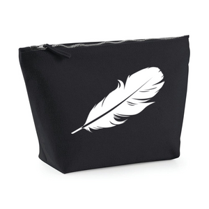White feather. Make up bag