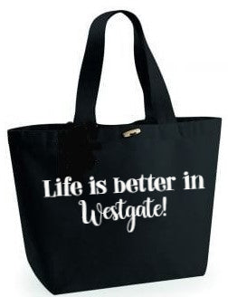 Life is better in...Black Beach Bag