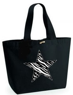 Zebra Star Design. Black Beach Bag