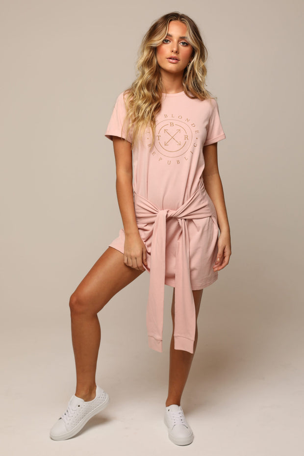 THE CITRINE TIE DRESS (Blush)