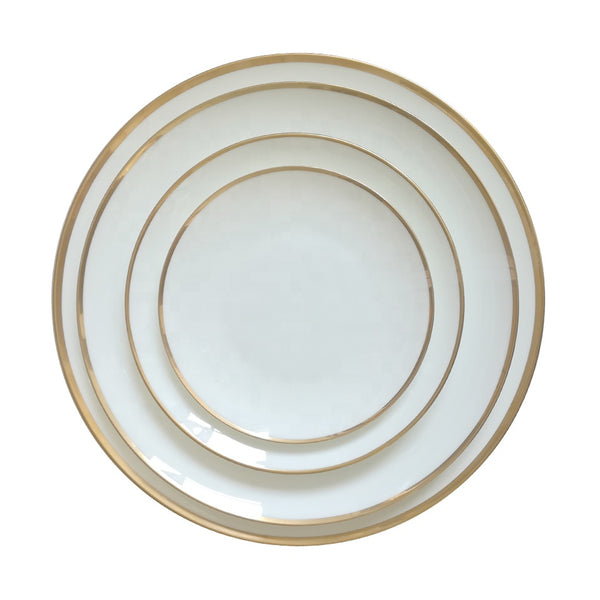 White Dinner Plates with Gold Trim