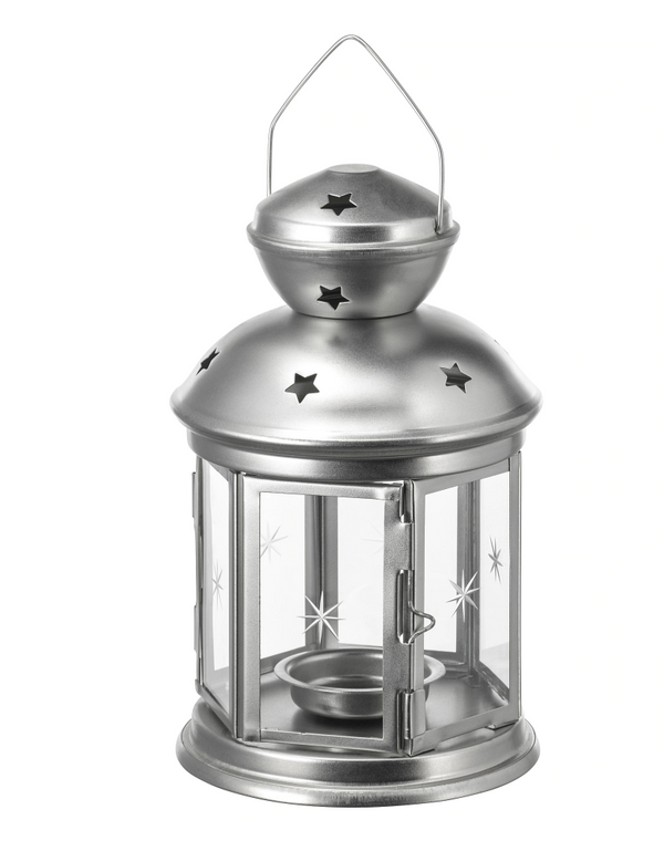 Tealight Candle Holder Lantern - Silver