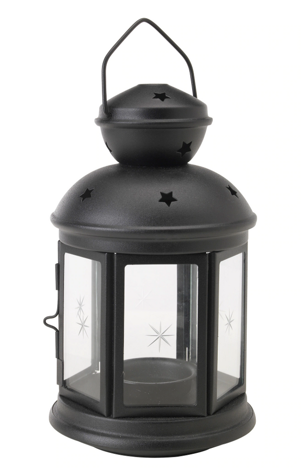 Tealight Candle Holder Lantern - Black