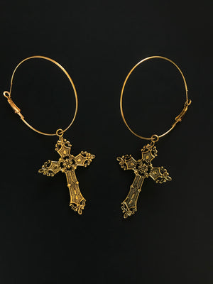 The Gloria Floral cross Earrings