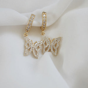 14k Gold Plated Avery Butterfly Huggie Earrings