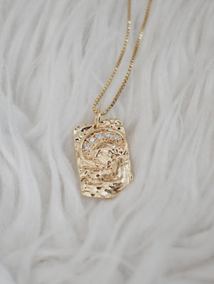 Virgin Mary Tag Necklace- 14k Gold Filled