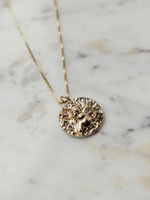 The Charlie Cherub Coin Necklace - 14k Gold Filled