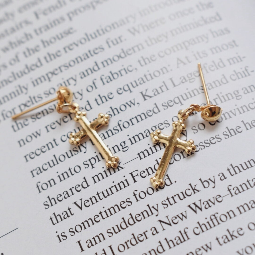 The Alexandria Cross Ball Post Earrings