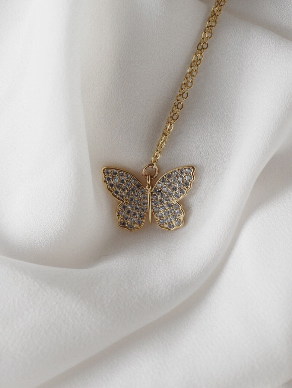 The Kylie Diamond Butterfly Necklace - 16k Gold Plated
