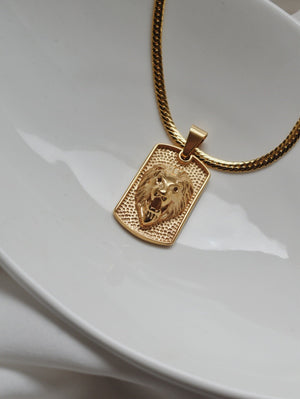 The Donatella Lion Tag Necklace - 24k Gold Filled