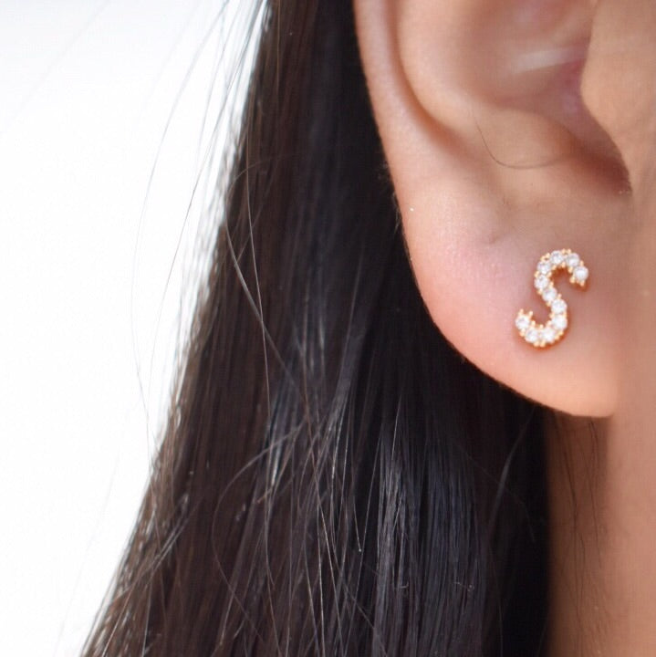 Diamond Initial Post Earrings