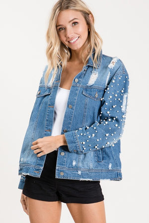 Custom Distressed Pearl Sleeve Denim Jacket