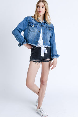 Custom Cropped Medium Wash Denim Jacket