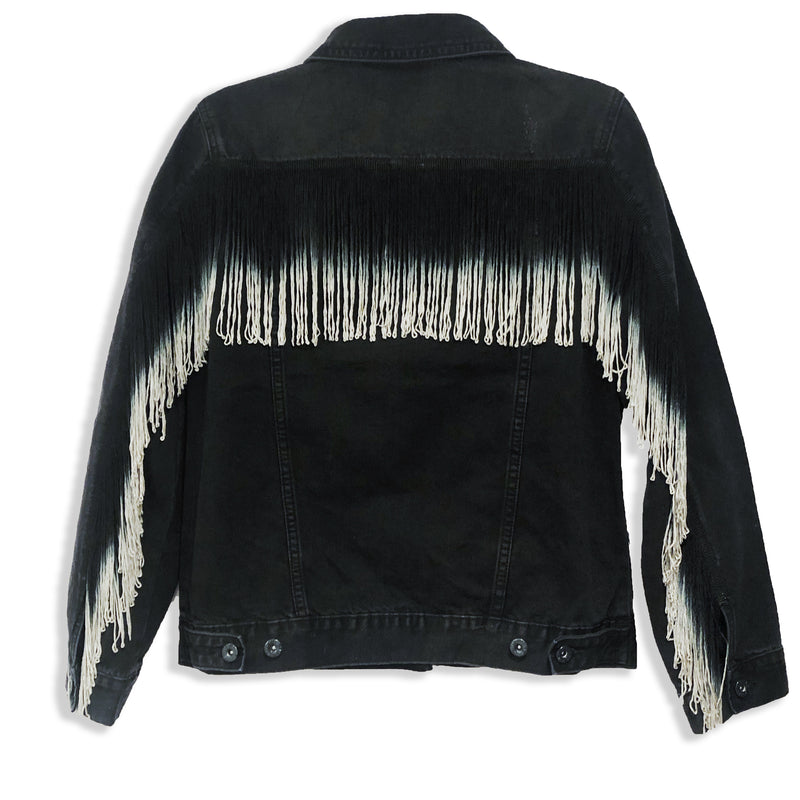 Ombré Fringe Black Denim Jacket