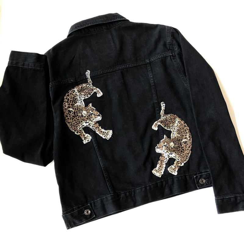Dueling Leopards Denim Jacket