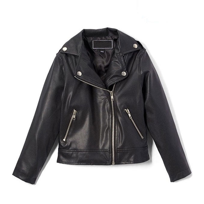 Kids Custom Black Leather Jacket