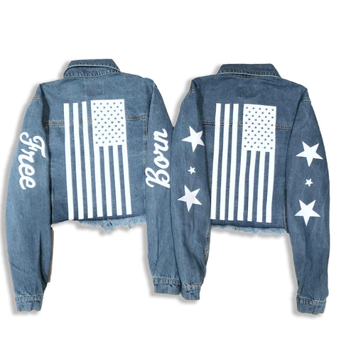 Texas Forever Cropped Denim Jacket