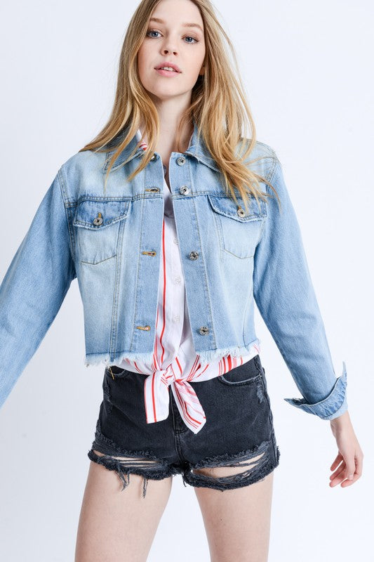 Custom Cropped Light Wash Denim Jacket