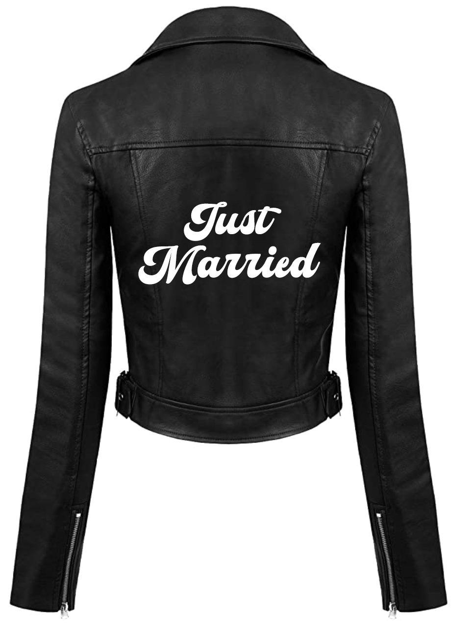 Just Married Faux Black Leather Jacket