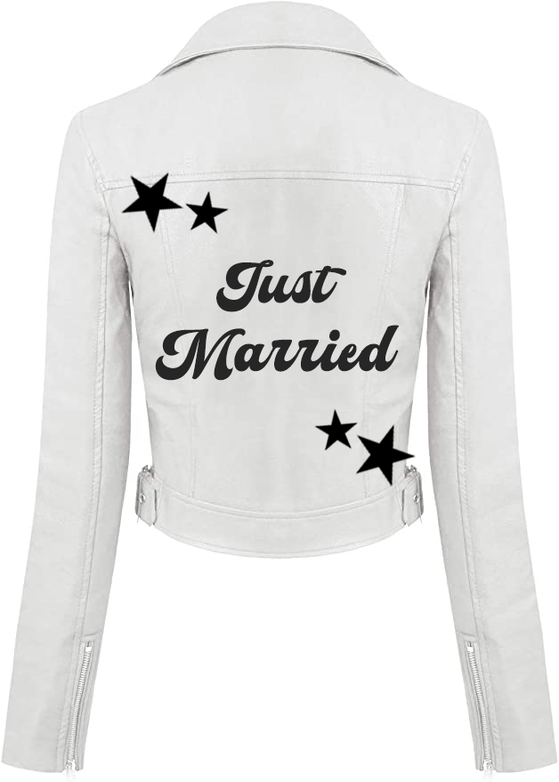 Just Married Faux White Leather Jacket