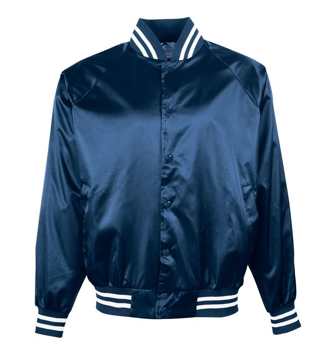 Custom Navy Satin Bomber Jacket