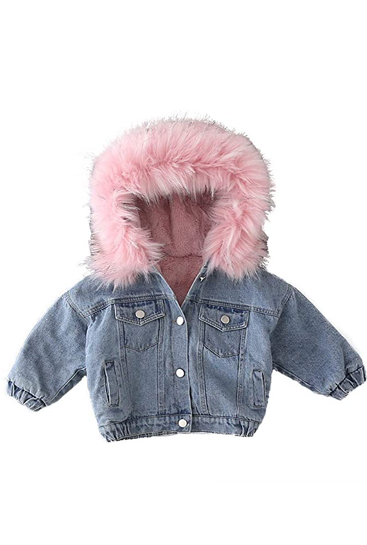 Custom Kids Denim Jacket with Pink Fur