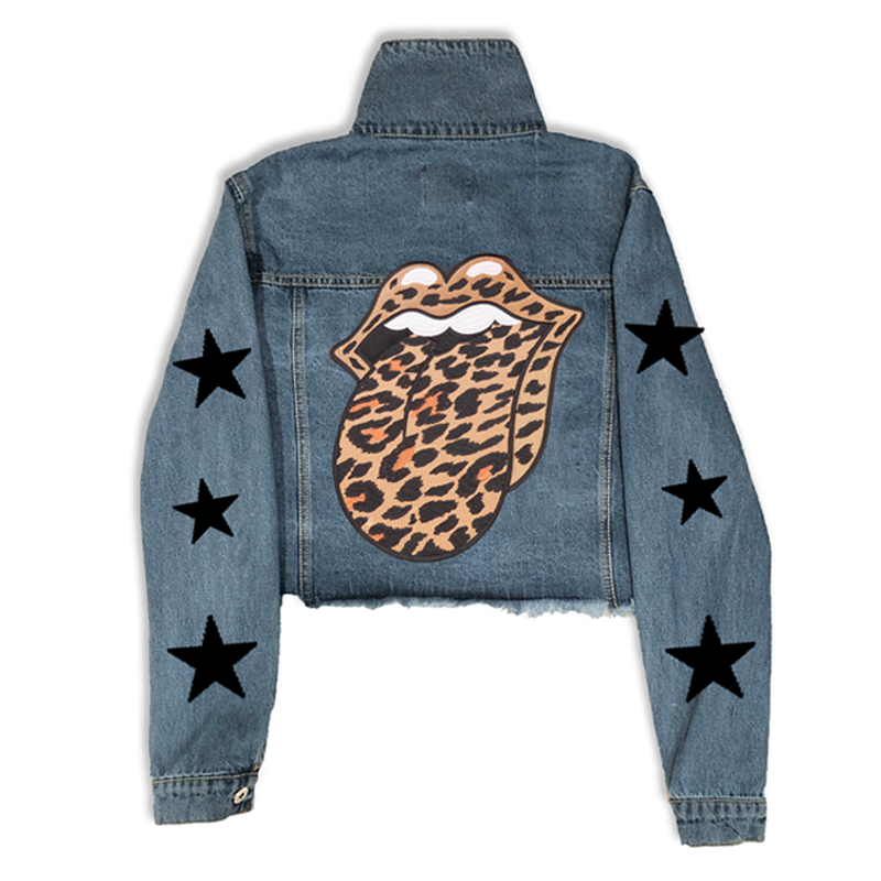 Rocker Leopard Cropped Denim Jacket