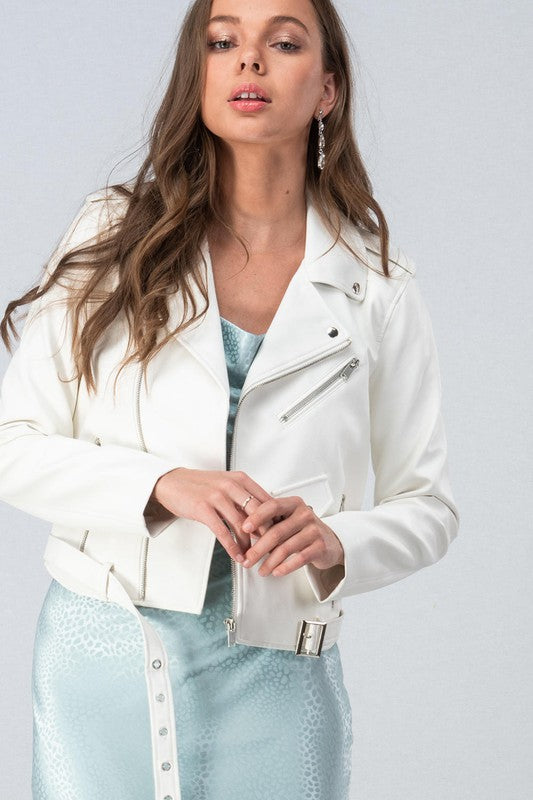 Custom Faux White Leather Jacket