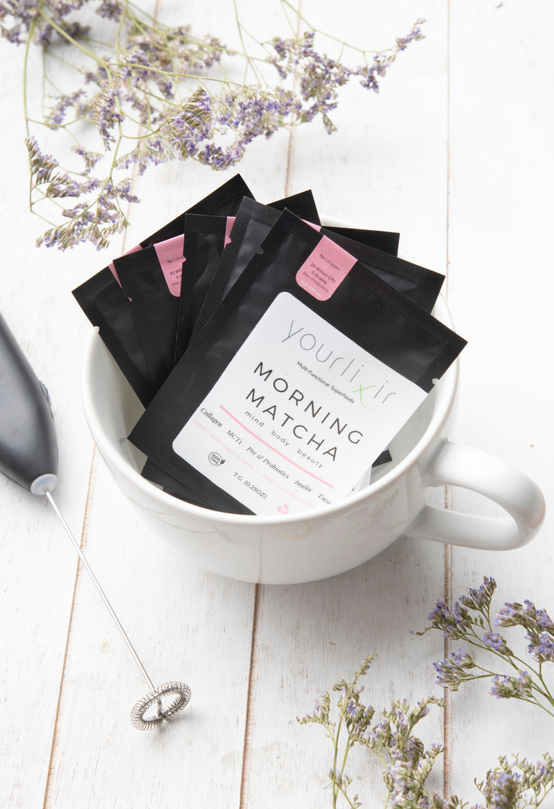 Morning Matcha Travel Sachets (collagen + probiotics)