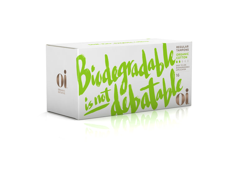 Oi Organic Cotton Tampons with Cardboard Applicator, Regular 16s