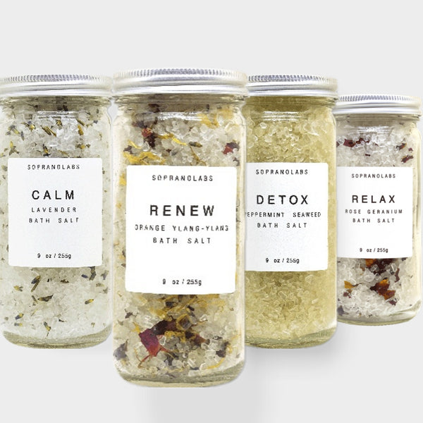 Bath Salts Sample Pack-4 Spa Testers, Lavender, Rose, Mint