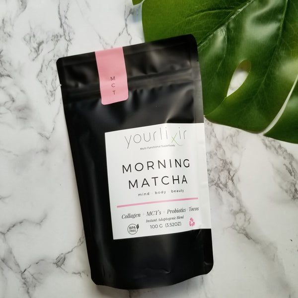 ADAPTOGENIC MORNING MATCHA LATTE BLEND (COLLAGEN + PROBIOTICS)