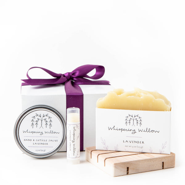 Gift Box: Soap, Cedar Soap Dish, Lip Balm and Salve
