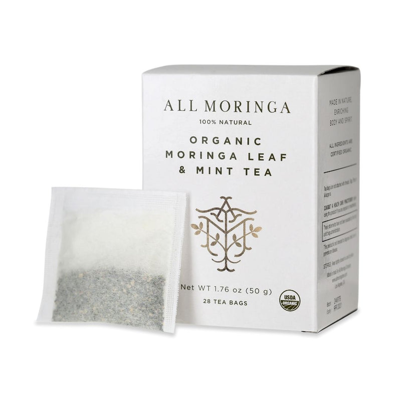 Premium Organic Moringa Leaf Herbal Tea USDA Certified 28 Tea Bags