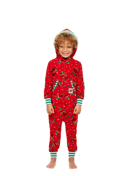 Family Holiday Pajamas, Toddler 2-Piece Pajama Set with Slippers, Red Fun