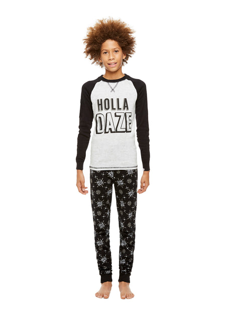Family Holiday Pajamas, Girls 2-Piece Pajama Set with Door Knob Sign, Holla Daze