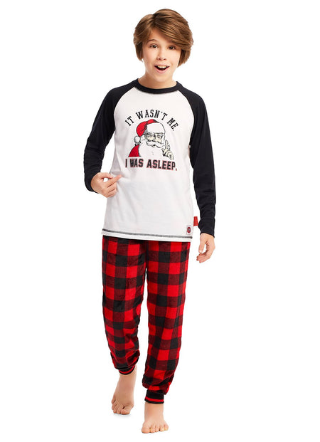 Family Holiday Pajamas, Boys 2-Piece Pajama Set with Mug, Winter Wonderland