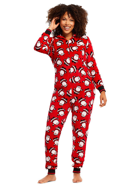 Christmas Matching Family Pajamas - Red Santa - Onesie - Womens
