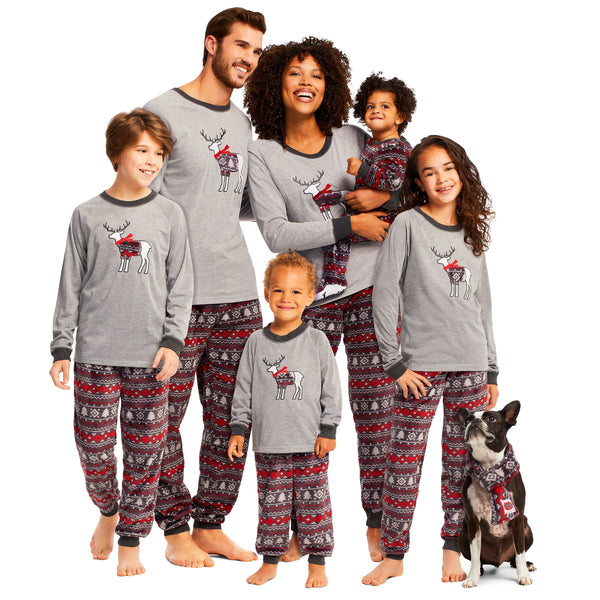 Christmas Matching Family Pajamas - Grey Fair Isle - Scarf - Pet