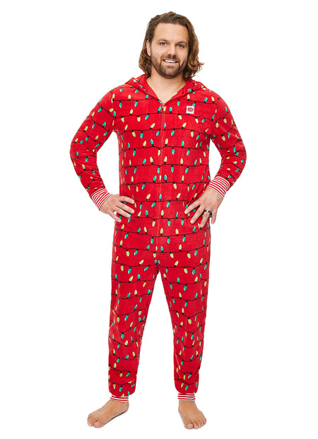 Christmas Matching Family Pajamas - Red Santa - Onesie - Mens