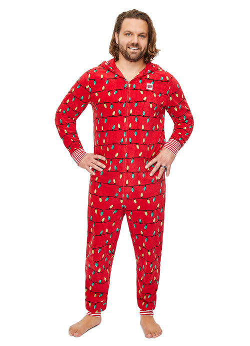 Men's Onesie Christmas lights