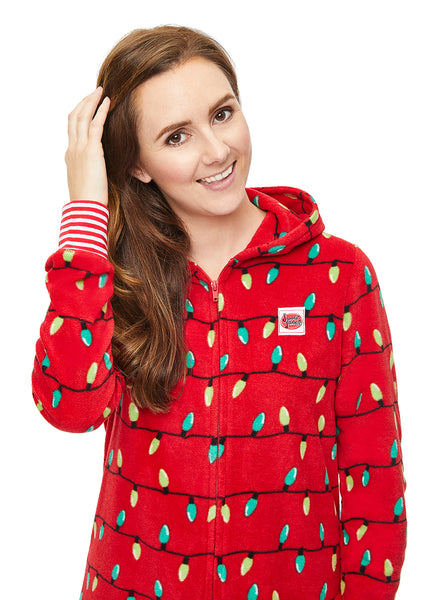 Women's Onesie Christmas lights