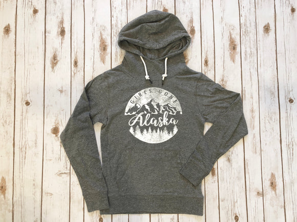 GSF- Girls Gone Alaska Lightweight Hoodie- Dark Heather