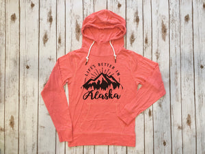 GSF- Life's Better in Alaska Lightweight Hoodie- Coral