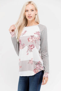Floral Stripes- Heather Grey