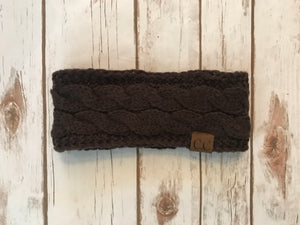 C.C. Cable Knit Headband, Brown