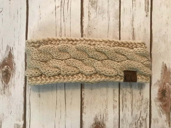 C.C. Cable Knit Headband, Beige